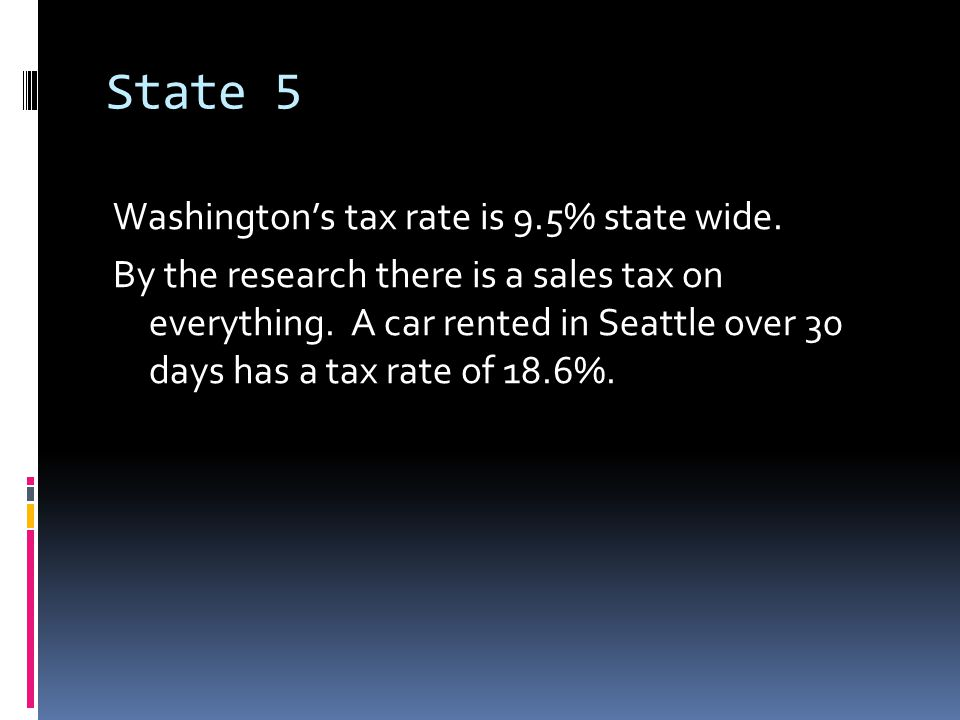 State 5 Washington's tax rate is 9.5% state wide. By the research there is a sales tax on everything. A car rented in Seattle over 30 days has a tax r