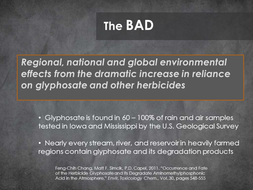 Regional, national and global environmental effects from the dramatic increase in reliance on glyphosate and other herbicides The BAD Glyphosate is found in 60 – 100% of rain and air samples tested in Iowa and Mississippi by the U.S.