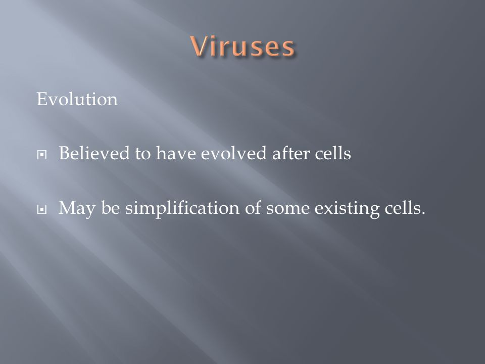 Evolution  Believed to have evolved after cells  May be simplification of some existing cells.
