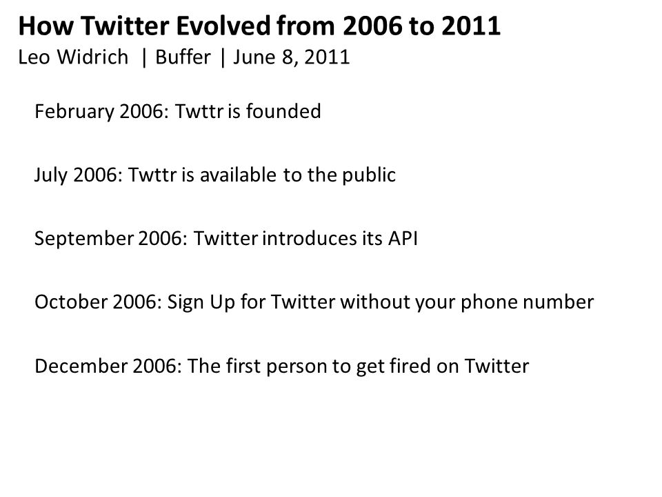 How Twitter Evolved from 2006 to 2011 Leo Widrich | Buffer | June 8, 2011 February 2006: Twttr is founded July 2006: Twttr is available to the public September 2006: Twitter introduces its API October 2006: Sign Up for Twitter without your phone number December 2006: The first person to get fired on Twitter