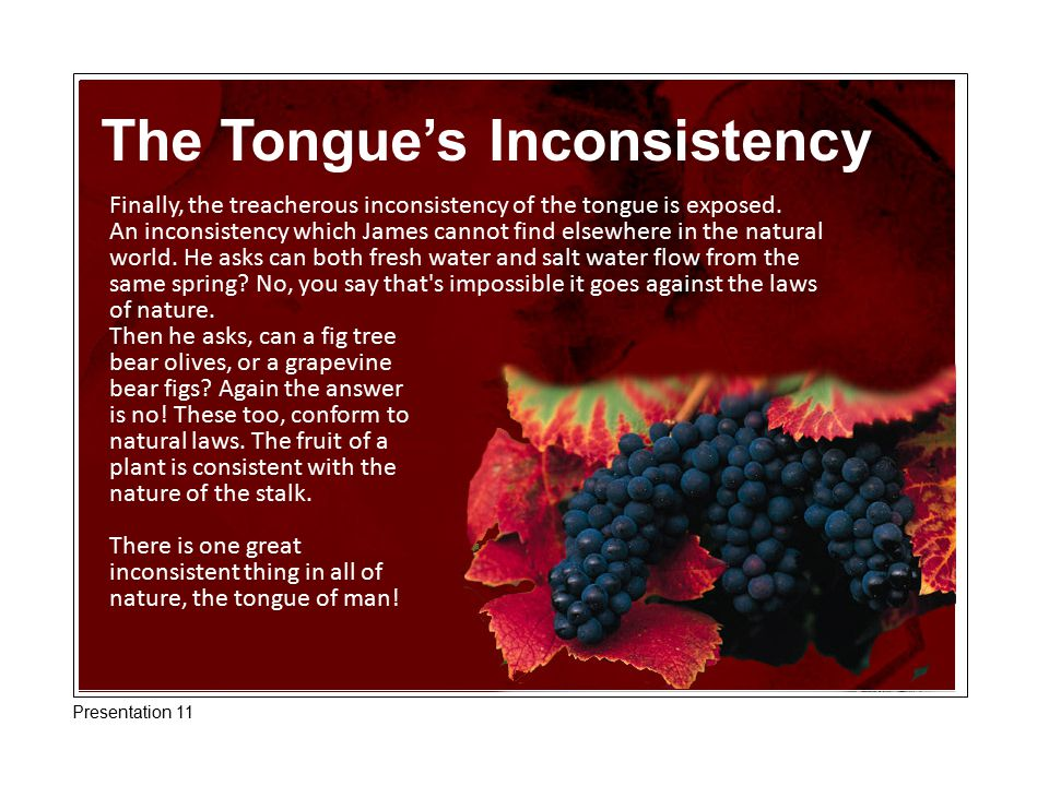 The Tongue's Inconsistency Finally, the treacherous inconsistency of the tongue is exposed. An inconsistency which James cannot find elsewhere in the