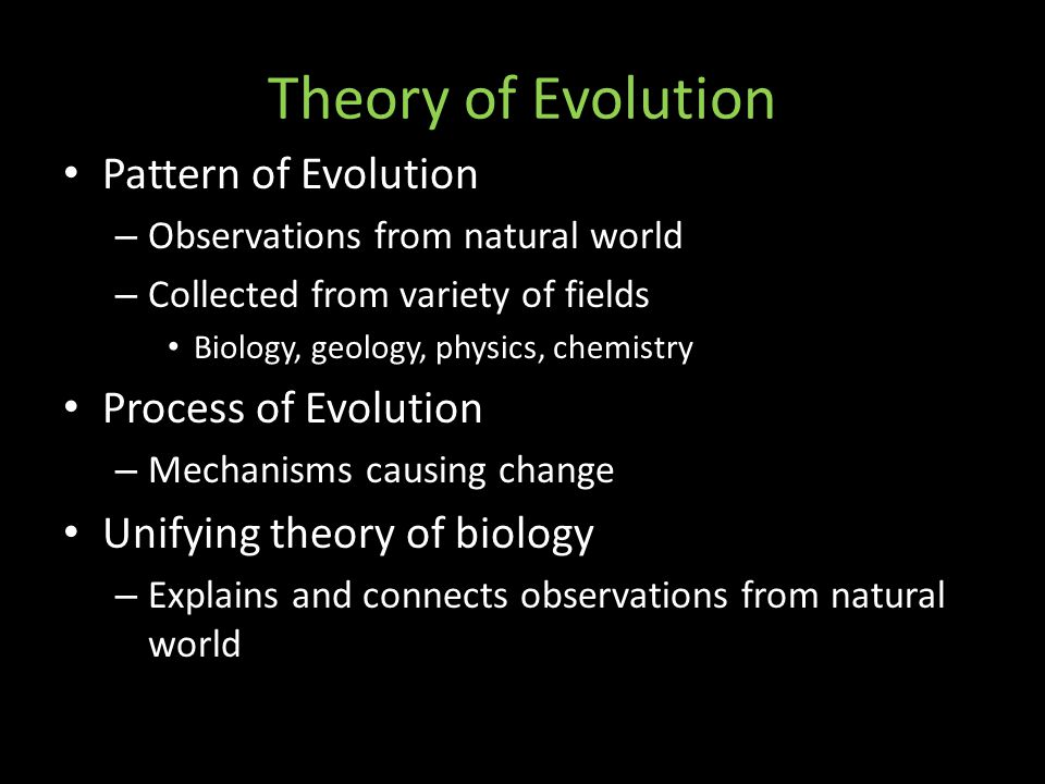 Theory of Evolution Pattern of Evolution – Observations from natural world – Collected from variety of fields Biology, geology, physics, chemistry Process of Evolution – Mechanisms causing change Unifying theory of biology – Explains and connects observations from natural world