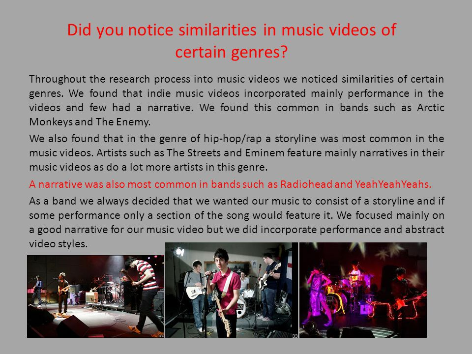Did you notice similarities in music videos of certain genres.