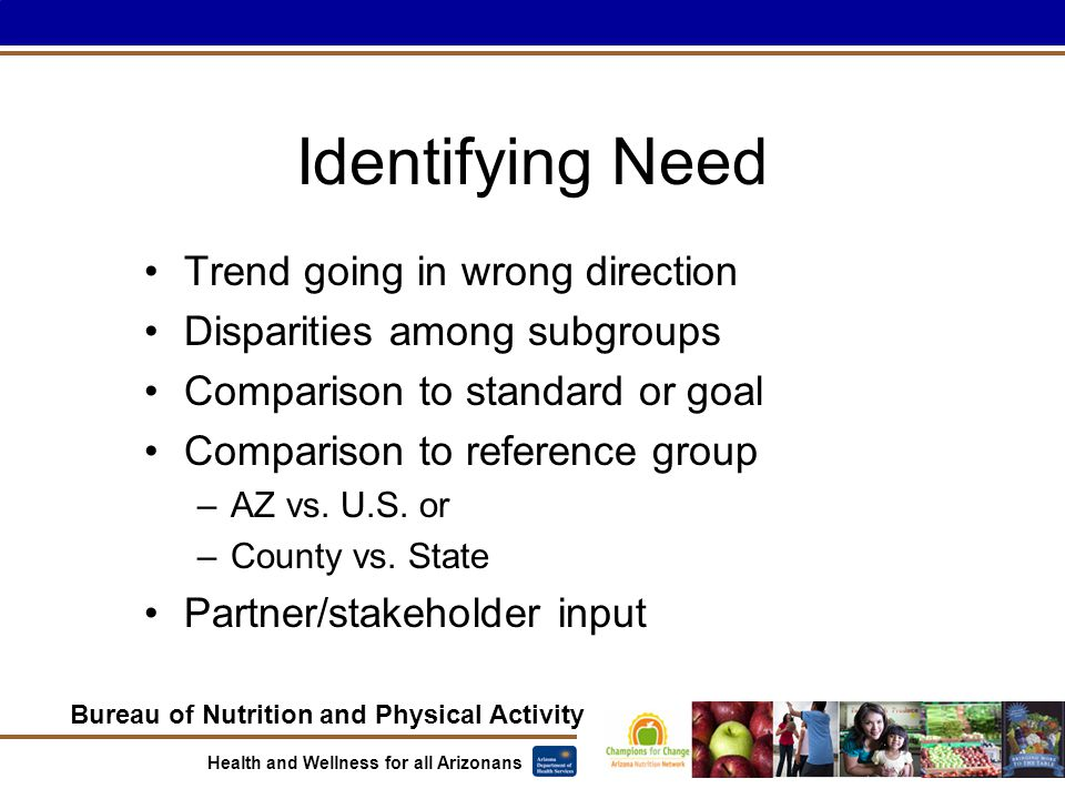 Bureau of Nutrition and Physical Activity Health and Wellness for all Arizonans Identifying Need Trend going in wrong direction Disparities among subgroups Comparison to standard or goal Comparison to reference group –AZ vs.