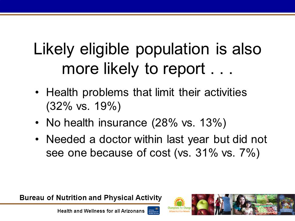 Bureau of Nutrition and Physical Activity Health and Wellness for all Arizonans Likely eligible population is also more likely to report...