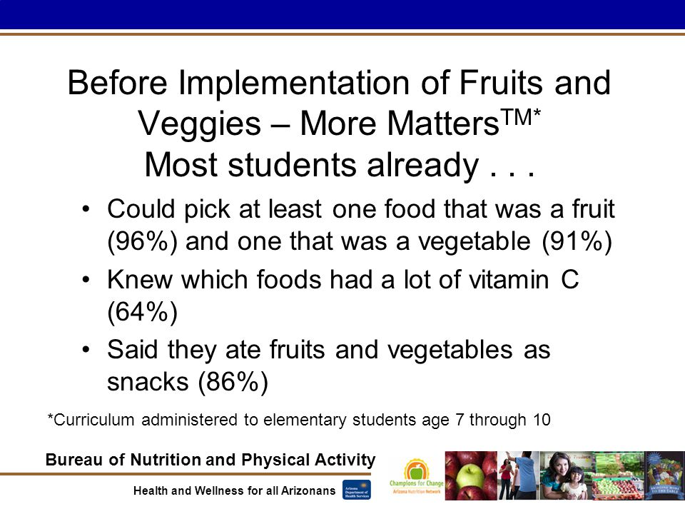 Bureau of Nutrition and Physical Activity Health and Wellness for all Arizonans Before Implementation of Fruits and Veggies – More Matters TM* Most st