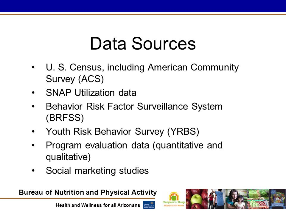 Bureau of Nutrition and Physical Activity Health and Wellness for all Arizonans Data Sources U.