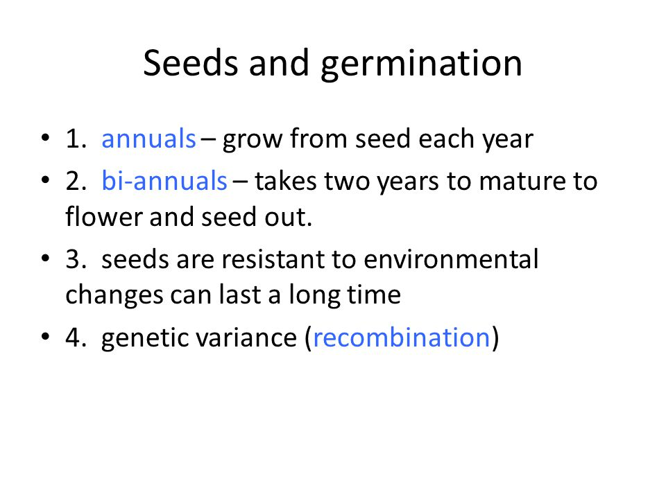 Seeds and germination 1. annuals – grow from seed each year 2.