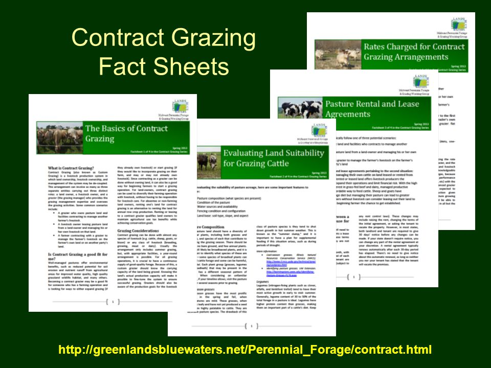 Contract Grazing Fact Sheets http://greenlandsbluewaters.net/Perennial_Forage/contract.html