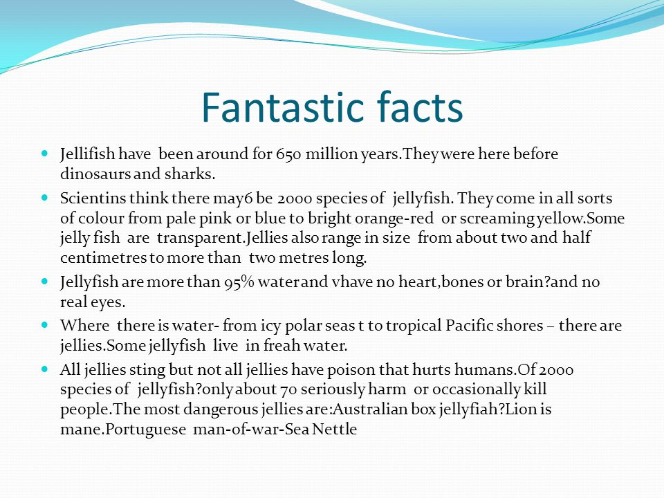 Fantastic facts Jellifish have been around for 650 million years.They were here before dinosaurs and sharks.