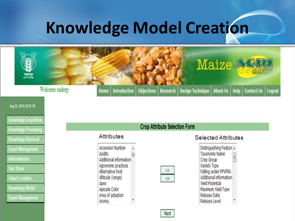 Knowledge Model Creation Selected Attributes Attributes