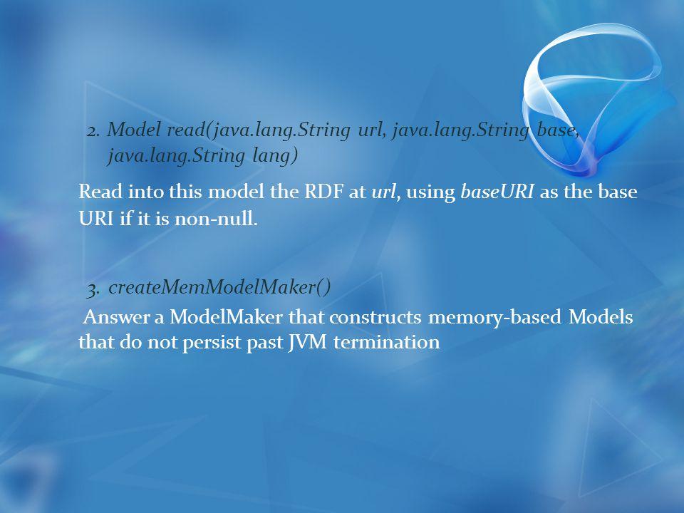 2. Model read(java.lang.String url, java.lang.String base, java.lang.String lang) Read into this model the RDF at url, using baseURI as the base URI i