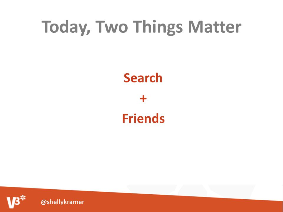 Today, Two Things Matter Search + Friends @shellykramer