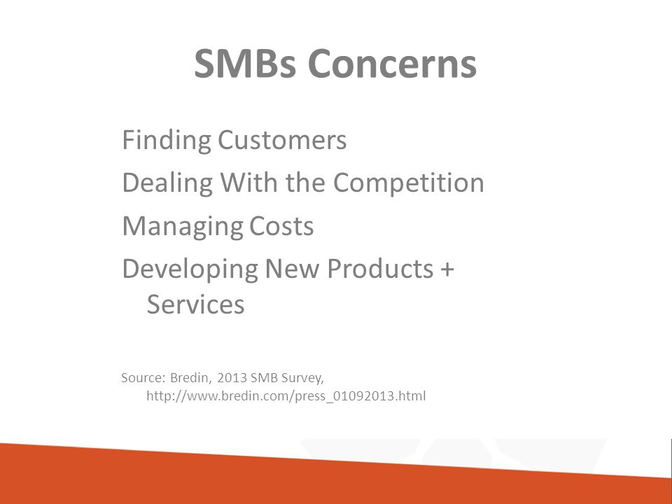SMBs Concerns Finding Customers Dealing With the Competition Managing Costs Developing New Products + Services Source: Bredin, 2013 SMB Survey, http://www.bredin.com/press_01092013.html