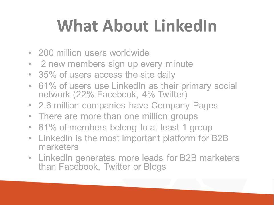 What About LinkedIn 200 million users worldwide 2 new members sign up every minute 35% of users access the site daily 61% of users use LinkedIn as their primary social network (22% Facebook, 4% Twitter) 2.6 million companies have Company Pages There are more than one million groups 81% of members belong to at least 1 group LinkedIn is the most important platform for B2B marketers LinkedIn generates more leads for B2B marketers than Facebook, Twitter or Blogs