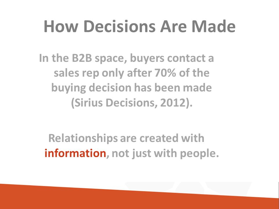 How Decisions Are Made In the B2B space, buyers contact a sales rep only after 70% of the buying decision has been made (Sirius Decisions, 2012).