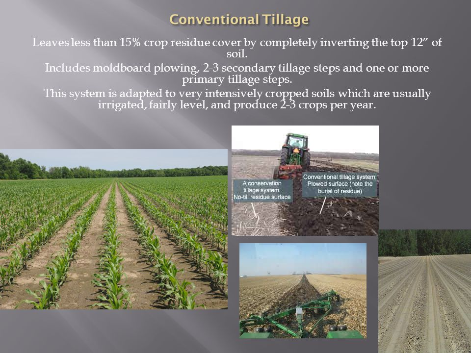 Leaves less than 15% crop residue cover by completely inverting the top 12 of soil.