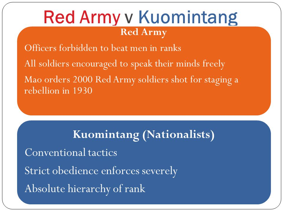 Red Army v Kuomintang Red Army Officers forbidden to beat men in ranks All soldiers encouraged to speak their minds freely Mao orders 2000 Red Army soldiers shot for staging a rebellion in 1930 Kuomintang (Nationalists) Conventional tactics Strict obedience enforces severely Absolute hierarchy of rank