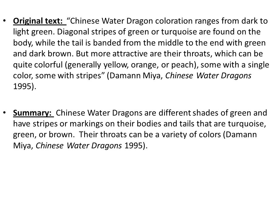 Original text: Chinese Water Dragon coloration ranges from dark to light green.