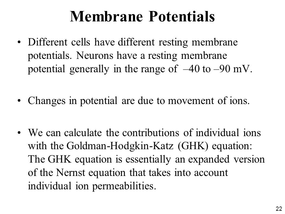 22 Membrane Potentials Different cells have different resting membrane potentials.