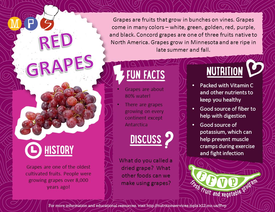 Grapes are fruits that grow in bunches on vines. Grapes come in many colors – white, green, golden, red, purple, and black. Concord grapes are one of