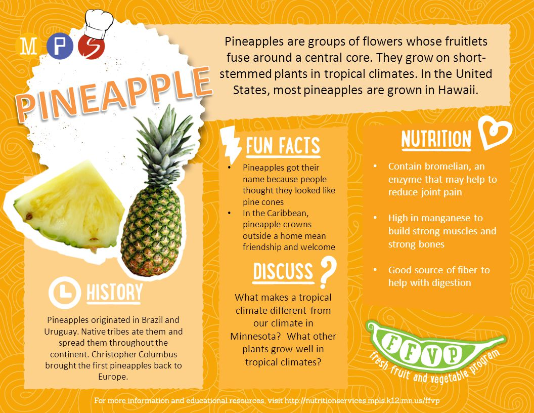 Pineapples are groups of flowers whose fruitlets fuse around a central core. They grow on short- stemmed plants in tropical climates. In the United St