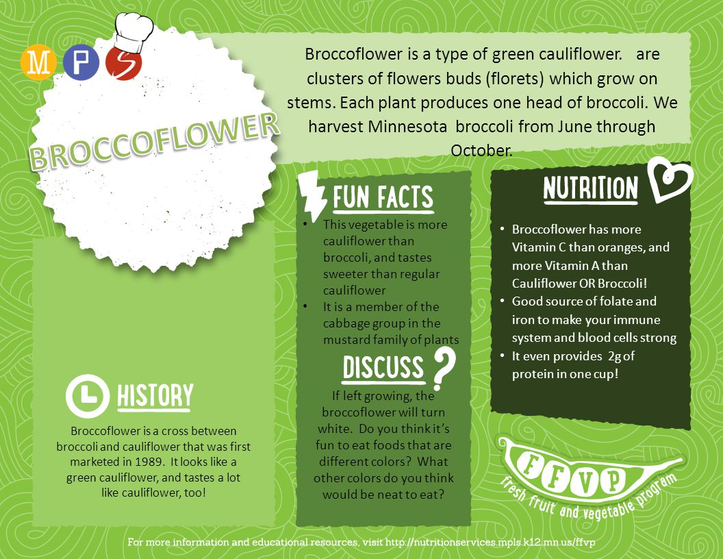 Broccoflower is a type of green cauliflower.