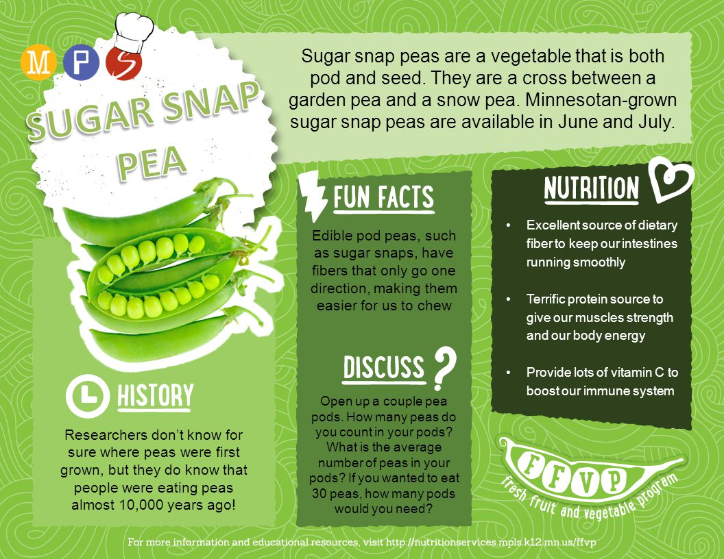 Sugar snap peas are a vegetable that is both pod and seed. They are a cross between a garden pea and a snow pea. Minnesotan-grown sugar snap peas are