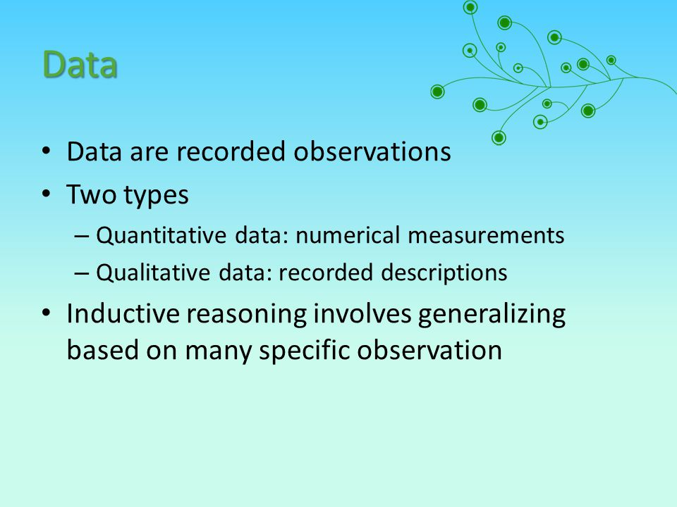 Data Data are recorded observations Two types – Quantitative data: numerical measurements – Qualitative data: recorded descriptions Inductive reasonin