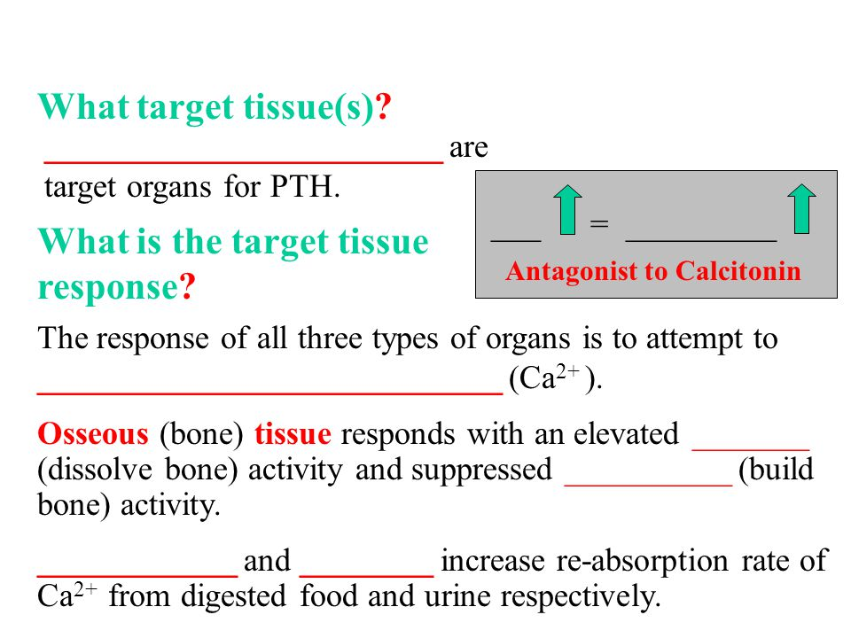 What target tissue(s). What is the target tissue response.