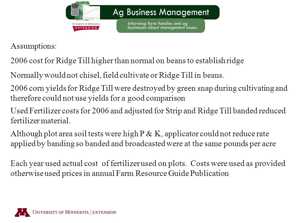Assumptions: 2006 cost for Ridge Till higher than normal on beans to establish ridge Normally would not chisel, field cultivate or Ridge Till in beans.