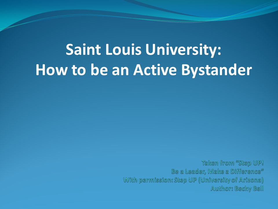 Saint Louis University: How to be an Active Bystander