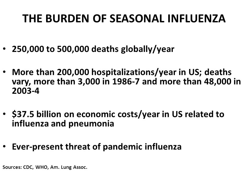 THE BURDEN OF SEASONAL INFLUENZA 250,000 to 500,000 deaths globally/year More than 200,000 hospitalizations/year in US; deaths vary, more than 3,000 in 1986-7 and more than 48,000 in 2003-4 $37.5 billion on economic costs/year in US related to influenza and pneumonia Ever-present threat of pandemic influenza Sources: CDC, WHO, Am.