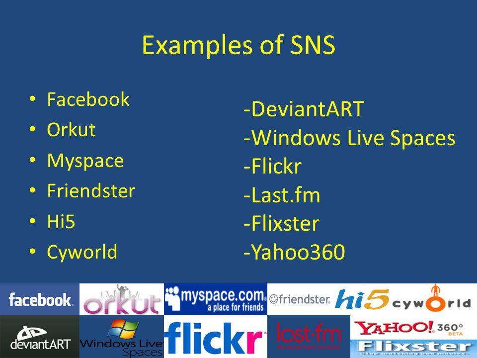 Examples of SNS Facebook Orkut Myspace Friendster Hi5 Cyworld -DeviantART -Windows Live Spaces -Flickr -Last.fm -Flixster -Yahoo360