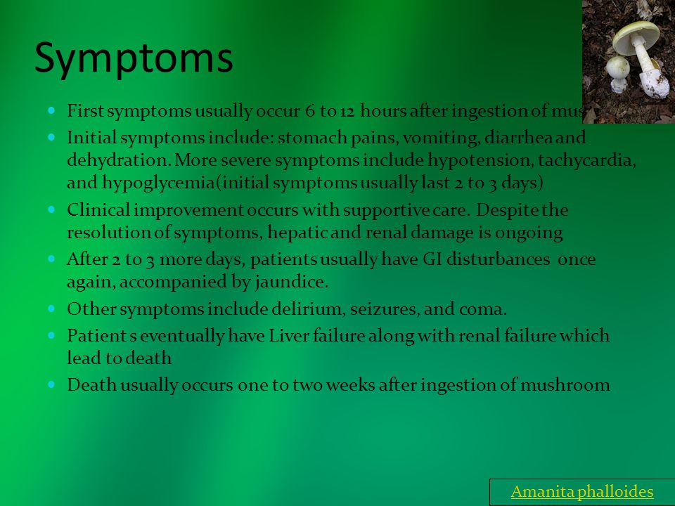 Symptoms First symptoms usually occur 6 to 12 hours after ingestion of mushroom Initial symptoms include: stomach pains, vomiting, diarrhea and dehydr