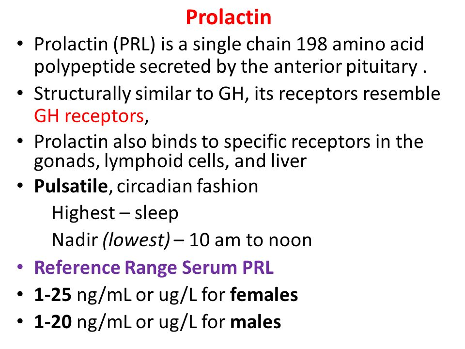 Prolactin Prolactin (PRL) is a single chain 198 amino acid polypeptide secreted by the anterior pituitary. Structurally similar to GH, its receptors r