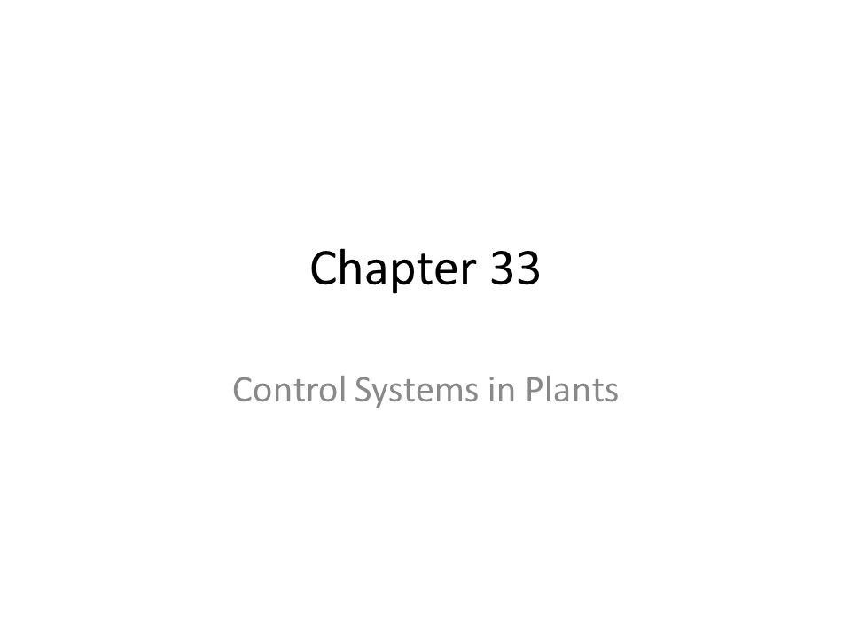 Chapter 33 Control Systems in Plants