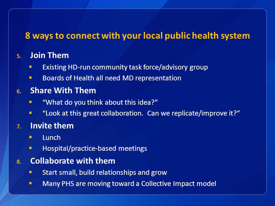 8 ways to connect with your local public health system 5.