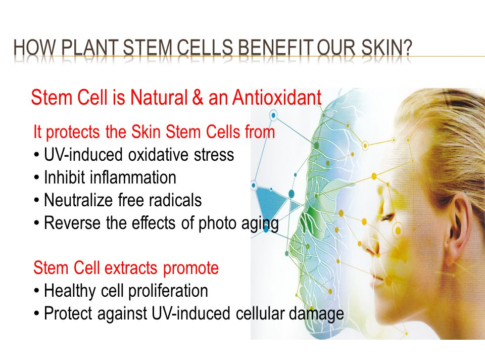 Stem Cell is Natural & an Antioxidant It protects the Skin Stem Cells from UV-induced oxidative stress Inhibit inflammation Neutralize free radicals R