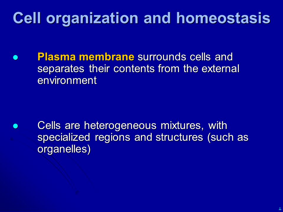 . Cell organization and homeostasis Plasma membrane surrounds cells and separates their contents from the external environment Plasma membrane surroun