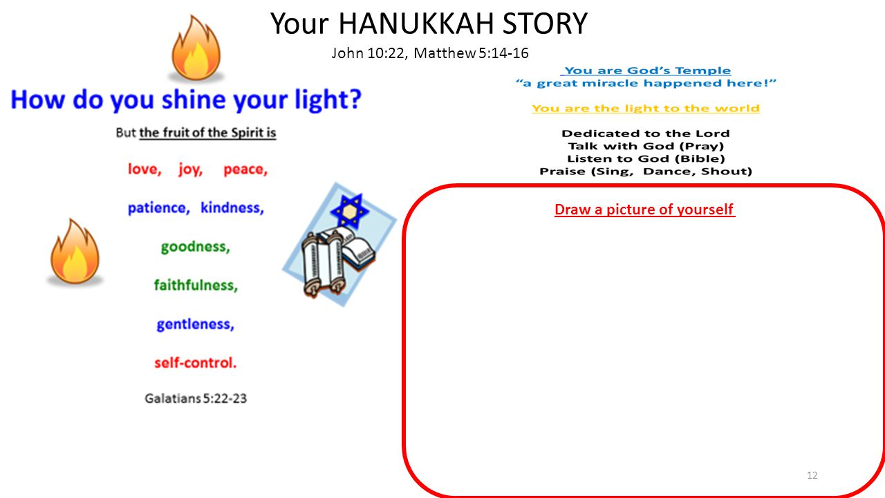 12 Your HANUKKAH STORY John 10:22, Matthew 5:14-16 Draw a picture of yourself
