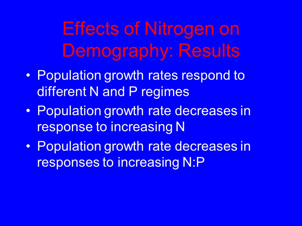 Effects of Nitrogen on Demography: Results Population growth rates respond to different N and P regimes Population growth rate decreases in response t