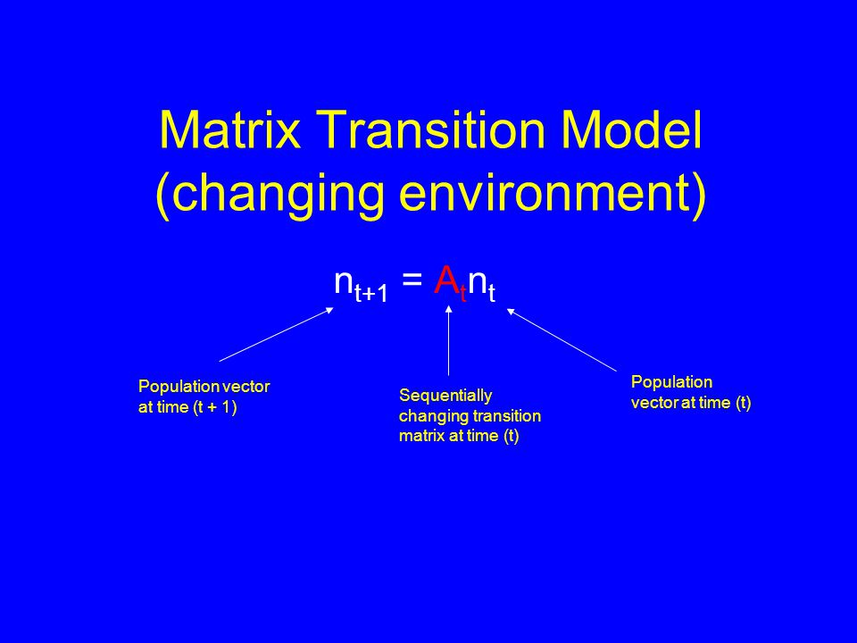 Matrix Transition Model (changing environment) n t+1 = A t n t Population vector at time (t + 1) Sequentially changing transition matrix at time (t) Population vector at time (t)