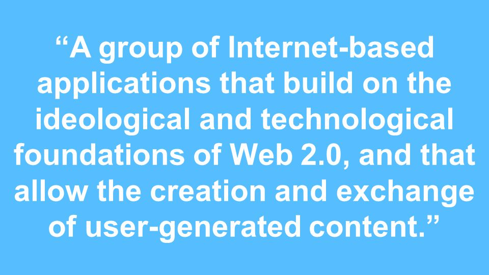 FLEX A group of Internet-based applications that build on the ideological and technological foundations of Web 2.0, and that allow the creation and exchange of user-generated content.