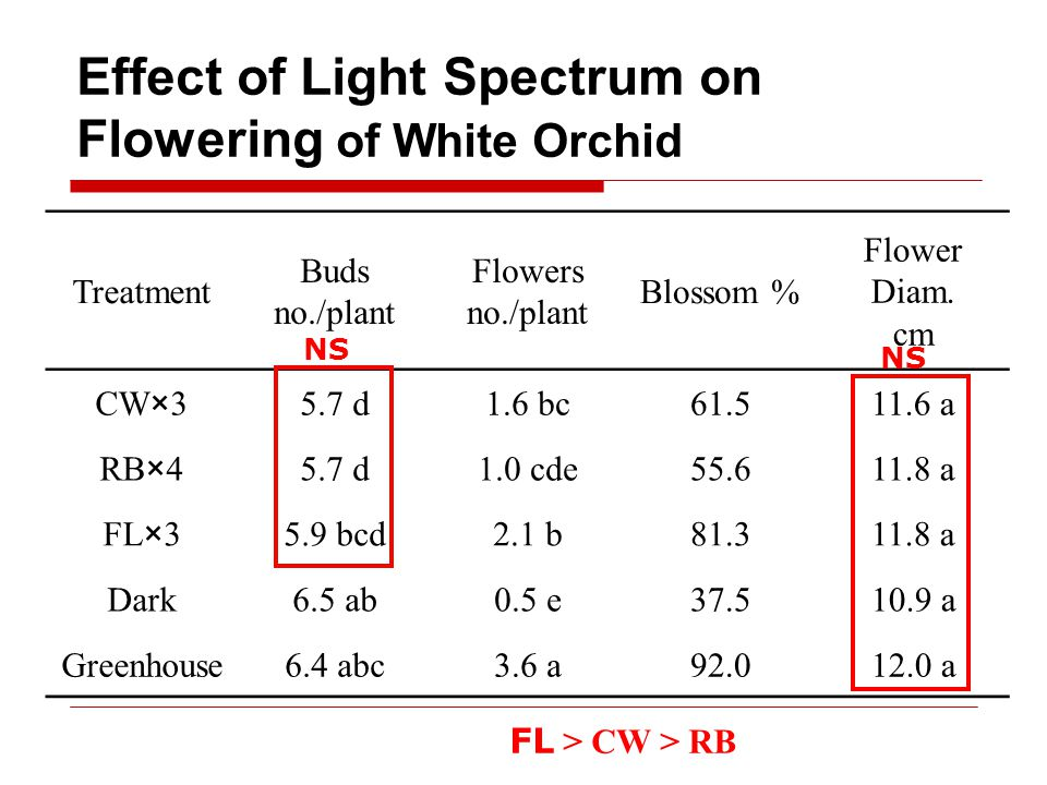 Effect of Light Spectrum on Flowering of White Orchid Treatment Buds no./plant Flowers no./plant Blossom % Flower Diam.