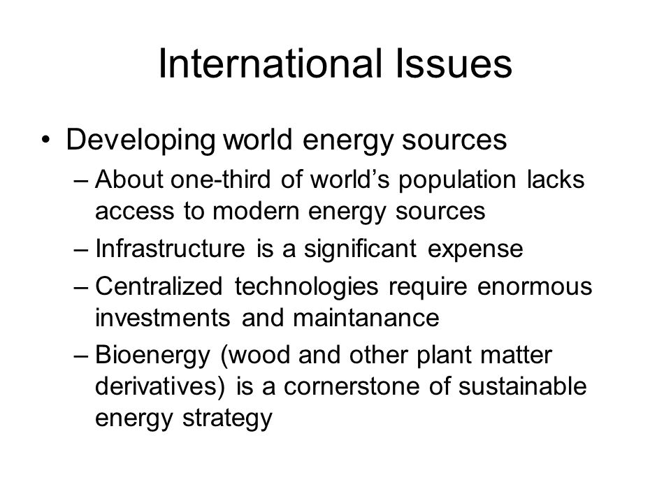 International Issues Developing world energy sources –About one-third of world's population lacks access to modern energy sources –Infrastructure is a significant expense –Centralized technologies require enormous investments and maintanance –Bioenergy (wood and other plant matter derivatives) is a cornerstone of sustainable energy strategy