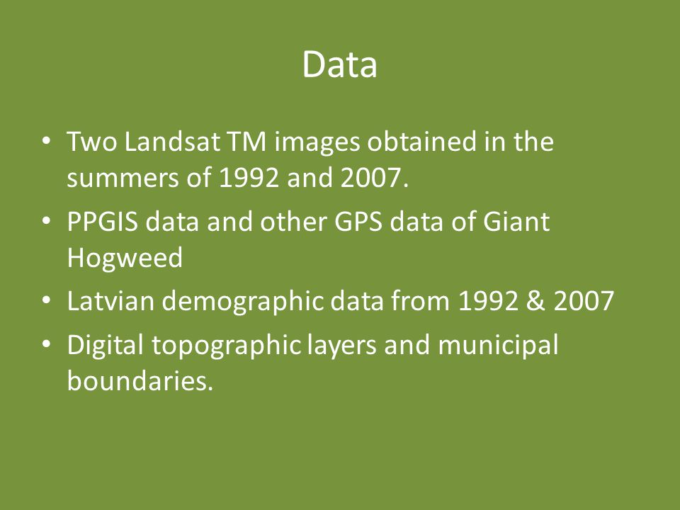 Data Two Landsat TM images obtained in the summers of 1992 and 2007.