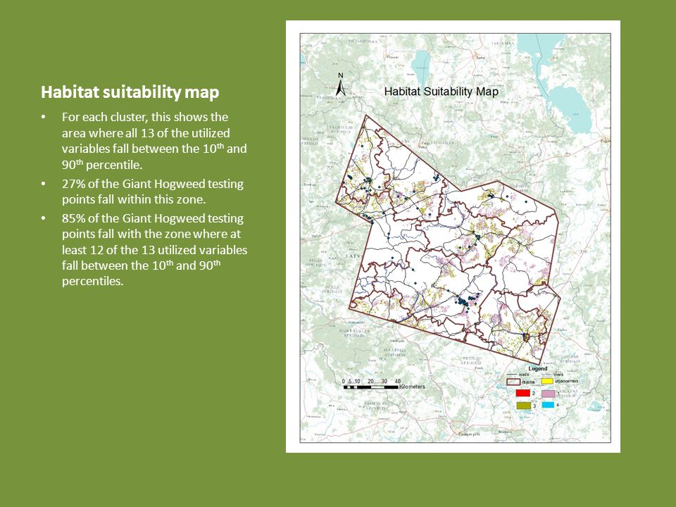 Habitat suitability map For each cluster, this shows the area where all 13 of the utilized variables fall between the 10 th and 90 th percentile.