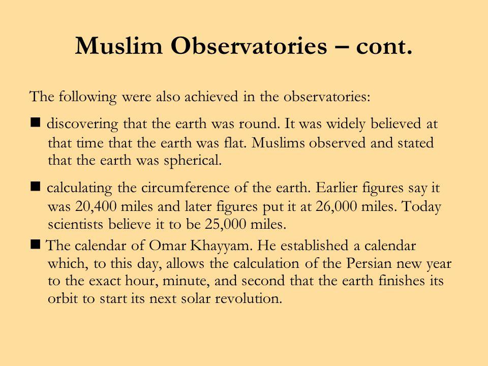 Muslim Observatories – cont.