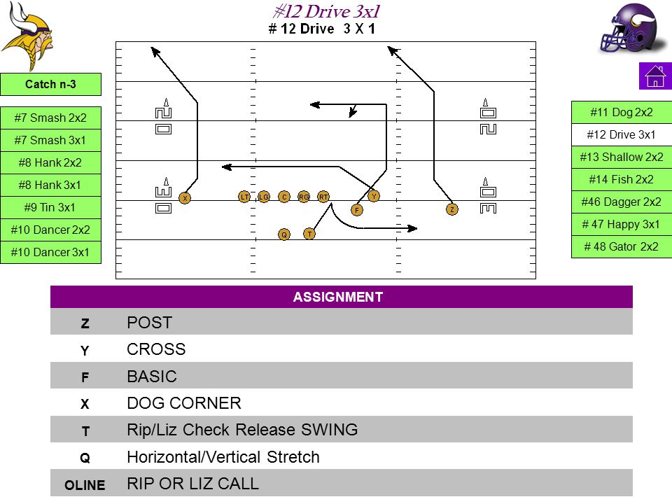 #12 Drive 3x1 ASSIGNMENT Z POST Y CROSS F BASIC X DOG CORNER T Rip/Liz Check Release SWING Q Horizontal/Vertical Stretch OLINE RIP OR LIZ CALL #7 Smas